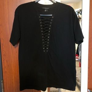 Forever 21 Black Lace Up Tee
